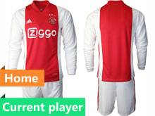 Mens 20-21 Soccer Afc Ajax Club Current Player Red Home Long Sleeve Suit Jersey
