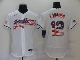 Mens Mlb Cleveland Indians #12 Francisco Lindor White Usa Flag Flex Base Nike Jersey
