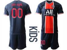 Kids 20-21 Soccer Paris Saint Germain ( Custom Made ) Blue Home Short Sleeve Suit Jersey