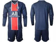 Mens 20-21 Soccer Paris Saint Germain ( Custom Made ) Blue Home Long Sleeve Suit Jersey