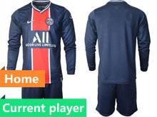 Mens 20-21 Soccer Paris Saint Germain Current Player Blue Home Long Sleeve Suit Jersey