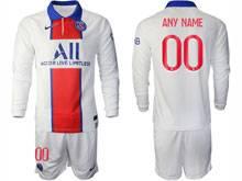 Mens 20-21 Soccer Paris Saint Germain ( Custom Made ) White Away Long Sleeve Suit Jersey