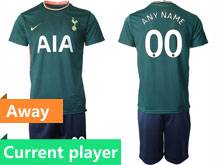 Mens 20-21 Soccer Tottenham Hotspur Club Current Player Green Away Short Sleeve Suit Jersey