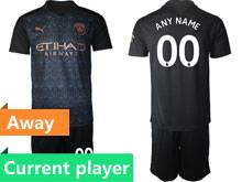 Mens 20-21 Soccer Manchester City Club Current Player Black Away Short Sleeve Suit Jersey