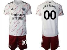 Mens 20-21 Soccer Arsenal Club ( Custom Made ) White Away Short Sleeve Suit Jersey