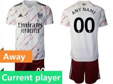 Mens 20-21 Soccer Arsenal Club Current Player White Away Short Sleeve Suit Jersey