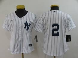 Women Youth Mlb New York Yankees #2 Derek Jeter White Stripe Cool Base Nike Jersey No Name