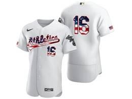 Mens Mlb Oakland Athletics #16 Liam Hendriks White Usa Flag Flex Base Nike Jersey No Name