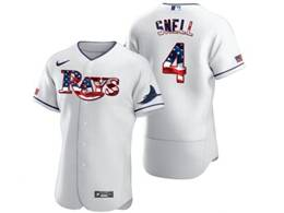 Mens Mlb Tampa Bay Rays #4 Blake Snell White Usa Flag Flex Base Nike Jersey