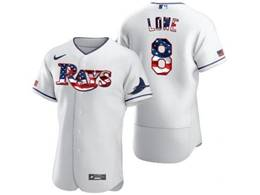 Mens Mlb Tampa Bay Rays #8 Brandon Lowe White Usa Flag Flex Base Nike Jersey