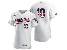 Mens Mlb Oakland Athletics #10 Marcus Semien White Usa Flag Flex Base Nike Jersey No Name