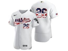 Mens Mlb Oakland Athletics #26 Matt Chapman White Usa Flag Flex Base Nike Jersey No Name