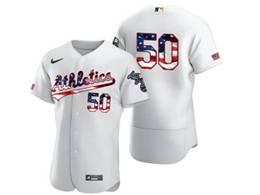 Mens Mlb Oakland Athletics #50 Mike Fiers White Usa Flag Flex Base Nike Jersey No Name