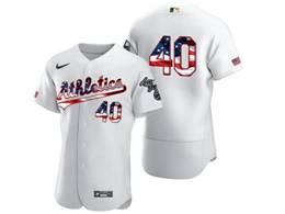 Mens Mlb Oakland Athletics #40 Chris Bassitt White Usa Flag Flex Base Nike Jersey No Name