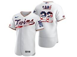 Mens Mlb Minnesota Twins #22 Miguel Sano White Usa Flag Flex Base Nike Jersey
