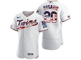 Mens Mlb Minnesota Twins #20 Eddie Rosario White Usa Flag Flex Base Nike Jersey