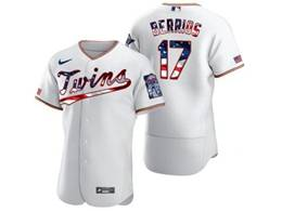 Mens Mlb Minnesota Twins #17 Jose Berrios White Usa Flag Flex Base Nike Jersey