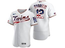 Mens Mlb Minnesota Twins #12 Jake Odorizzi White Usa Flag Flex Base Nike Jersey