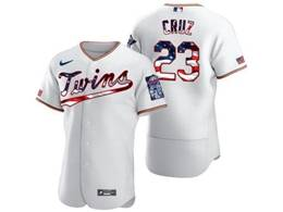 Mens Mlb Minnesota Twins #23 Nelson Cruz White Usa Flag Flex Base Nike Jersey