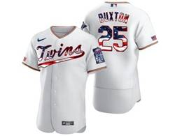 Mens Mlb Minnesota Twins #25 Byron Buxton White Usa Flag Flex Base Nike Jersey