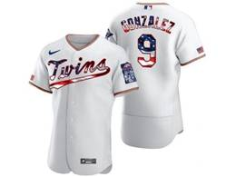 Mens Mlb Minnesota Twins #9 Marwin Gonzalez White Usa Flag Flex Base Nike Jersey