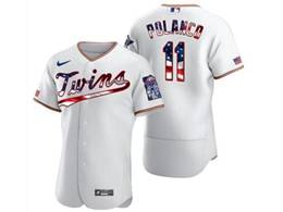 Mens Mlb Minnesota Twins #11 Jorge Polanco White Usa Flag Flex Base Nike Jersey