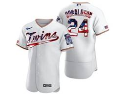 Mens Mlb Minnesota Twins #24 Josh Donaldson White Usa Flag Flex Base Nike Jersey