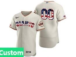 Mens Mlb San Francisco Giants Custom Made White Usa Flag Flex Base Nike Jersey