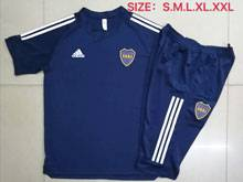 Mens 20-21 Soccer Atletico Boca Juniors Blue Short Sleeve And Navy Shorts Training Suit