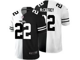 Mens Nfl Carolina Panthers #22 Christian Mccaffrey Black&white Split Peaceful Vapor Untouchable Limited Jersey