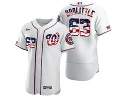 Mens Mlb Washington Nationals #63 Sean Doolittle White Usa Flag Flex Base Nike Jersey