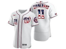Mens Mlb Washington Nationals #11 Ryan Zimmerman White Usa Flag Flex Base Jersey