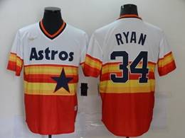 Mens Mlb Houston Astros #34 Nolan Ryan Orange Throwbacks V Neck Pullover Cool Base Nike Jersey
