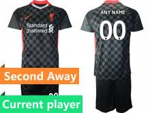 Mens 20-21 Soccer Liverpool Club Current Player Black Second Away Short Sleeve Suit Jersey