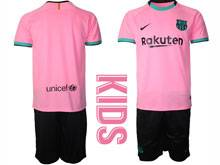 Kids 20-21 Soccer Barcelona Club ( Custom Made ) Pink Second Away Short Sleeve Suit Jersey