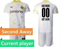 Mens 20-21 Soccer Borussia Dortmund Club Current Player White Second Away Short Sleeve Suit Jersey