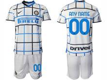 Mens 20-21 Soccer Inter Milan Club ( Custom Made ) White Away Short Sleeve Suit Jersey