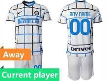 Mens 20-21 Soccer Inter Milan Club Current Player White Away Short Sleeve Suit Jersey