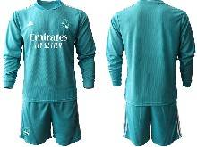 Mens 20-21 Soccer Real Madrid Club ( Custom Made ) Blue Goalkeeper Long Sleeve Suit Jersey