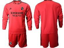Mens 20-21 Soccer Real Madrid Club ( Custom Made ) Red Goalkeeper Long Sleeve Suit Jersey