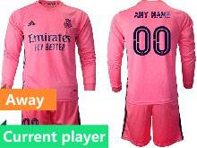 Mens 20-21 Soccer Real Madrid Club Current Player Pink Away Long Sleeve Suit Jersey