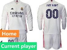 Mens 20-21 Soccer Real Madrid Club Current Player White Home Long Sleeve Suit Jersey