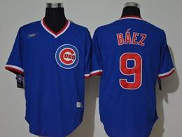 Mens Mlb Chicago Cubs #9 Javier Baez Blue Throwbacks V Neck Pullover Cool Base Nike Jersey