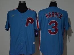 Mens Mlb Philadelphia Phillies #3 Bryce Harper Blue Throwbacks Cool Base Nike Jersey