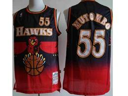 Mens Nba Atlanta Hawks #55 Dikembe Mutombo Black Red Mitchell&ness Hardwood Classics Swingman Jersey