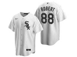 Mens Mlb Chicago White Sox #88 Luis Robert White Stripe Cool Base Nike Jersey