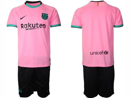 Mens 20-21 Soccer Barcelona Club ( Custom Made ) Pink Second Away Short Sleeve Suit Jersey