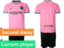 Mens 20-21 Soccer Barcelona Club Current Player Pink Second Away Short Sleeve Suit Jersey
