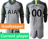 Mens 20-21 Soccer Tottenham Hotspur Club Current Player Gray Goalkeeper Long Sleeve Suit Jersey