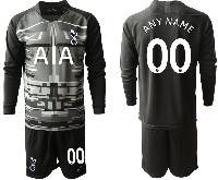 Mens 20-21 Soccer Tottenham Hotspur Club ( Custom Made ) Black Goalkeeper Long Sleeve Suit Jersey
